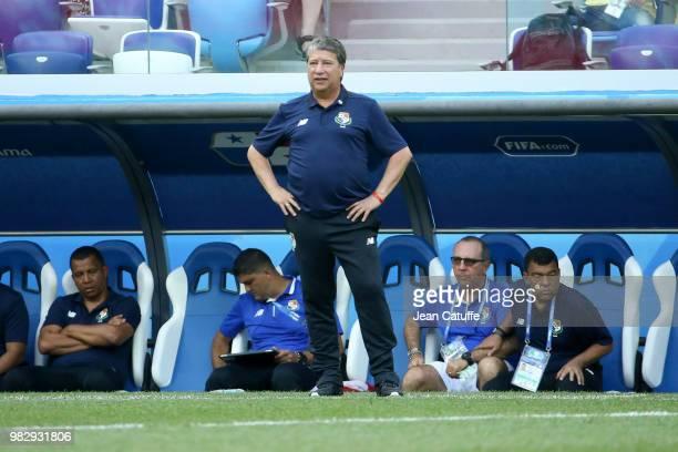 Coach of Panama Hernan Dario Gomez during the 2018 FIFA World Cup Russia group G match between England and Panama at Nizhniy Novgorod Stadium on June...