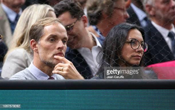 Coach of Paris SaintGermain Thomas Tuchel and his wife Sissi Tuchel attend the final between Karen Khachanov of Russia and Novak Djokovic of Serbia...
