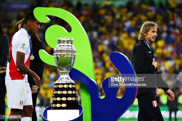 Coach of Peru Ricardo Gareca collects his runners up medal after the Copa America Brazil 2019 Final match between Brazil and Peru at Maracana Stadium...