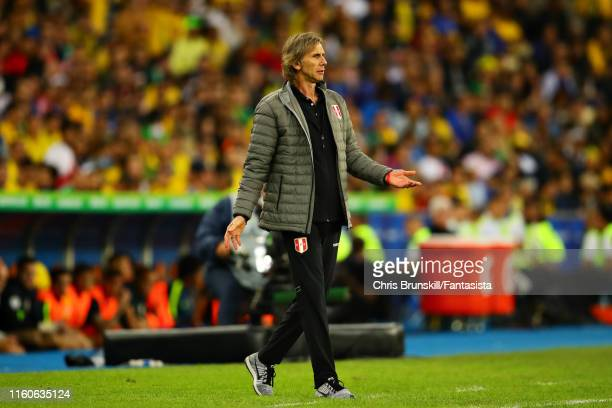Coach of Peru Ricardo Gareca gestures from the sidelines during the Copa America Brazil 2019 Final match between Brazil and Peru at Maracana Stadium...
