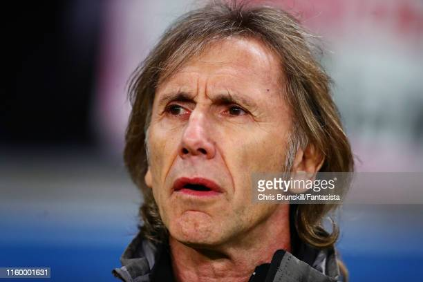 Coach of Peru Ricardo Gareca looks on during the Copa America Brazil 2019 Semi Final match between Chile and Peru at Arena do Gremio on July 03 2019...
