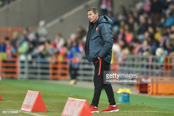 Coach of Poland Dariusz Gesior during the U20 Elite League match between Poland and England at the Municipal Stadium on March 22 2018 in BielskoBiala...