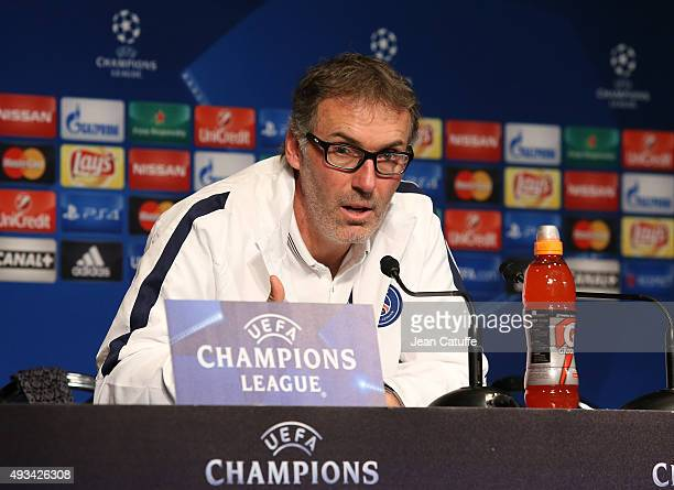 Coach of PSG Laurent Blanc answers to the media during a press conference on the eve of the UEFA Champions League match between Paris SaintGermain...