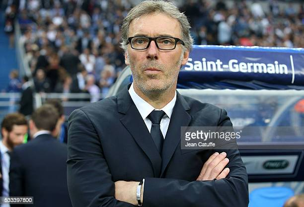 Coach of PSG Laurent Blanc looks on during the French Cup Final match between Paris SaintGermain and Olympique de Marseille at Stade de France on May...