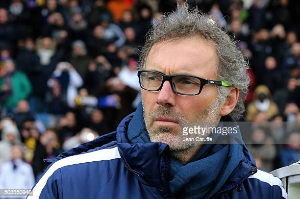 Coach of PSG Laurent Blanc looks on during the French Cup match between ES Wasquehal and Paris SaintGermain at Stadium Lille Metropole on January 3...