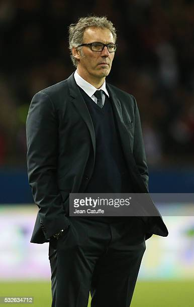 Coach of PSG Laurent Blanc looks on during the French Ligue 1 match between Paris SaintGermain and FC Nantes at Parc des Princes stadium on May 14...