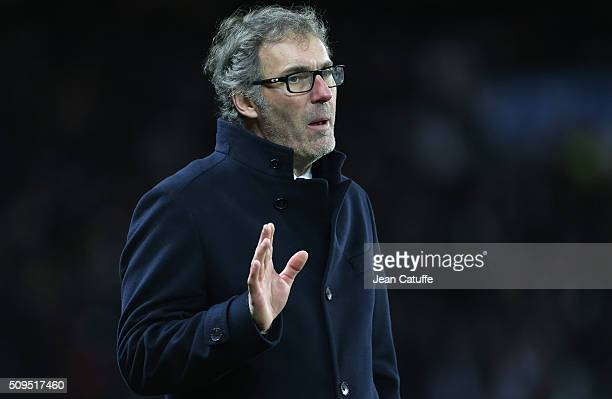 Coach of PSG Laurent Blanc reacts during the French Cup match between Paris SaintGermain and Olympique Lyonnais at Parc des Princes stadium on...