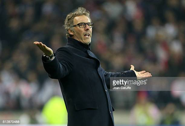 Coach of PSG Laurent Blanc reacts during the French Ligue 1 match between Olympique Lyonnais and Paris SaintGermain at Parc Olympique Lyonnais...