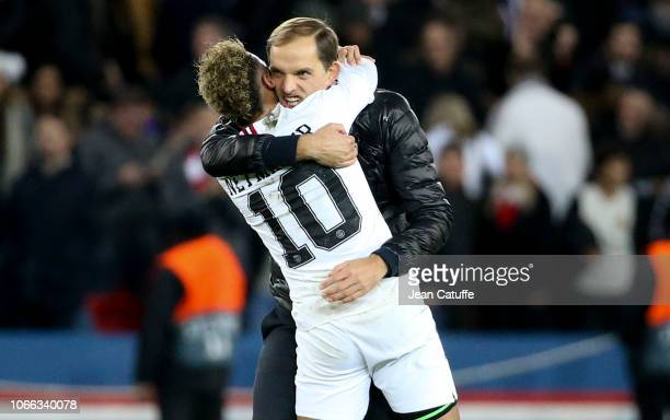 Coach of PSG Thomas Tuchel and Neymar Jr of PSG celebrate the victory following the UEFA Champions League Group C match between Paris SaintGermain...