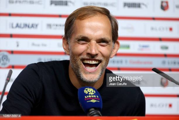 Coach of PSG Thomas Tuchel answers to the media following the french Ligue 1 match between Stade Rennais FC and Paris Saint Germain at Roazhon Park...
