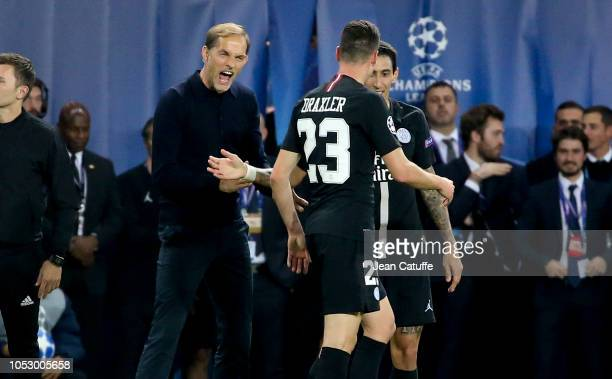 Coach of PSG Thomas Tuchel celebrates the last minute tying goal of Angel Di Maria during the Group C match of the UEFA Champions League between...