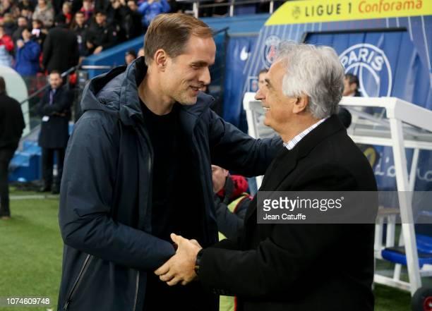 Coach of PSG Thomas Tuchel greets coach of FC Nantes Vahid Halilhodzic before the french Ligue 1 match between Paris SaintGermain and FC Nantes at...