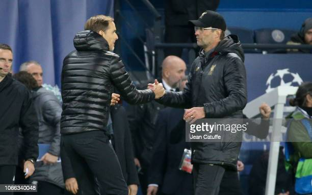 Coach of PSG Thomas Tuchel greets coach of Liverpool Jurgen Klopp following the UEFA Champions League Group C match between Paris Saint-Germain and...
