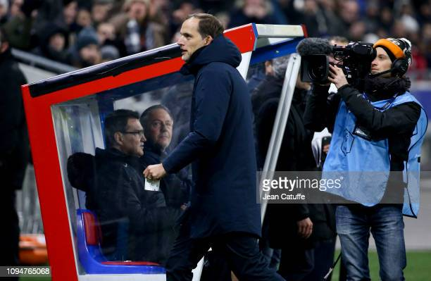 Coach of PSG Thomas Tuchel is sent off from the pitch to the stands by referee Antony Gautier during the French Cup match between FC Villefranche...