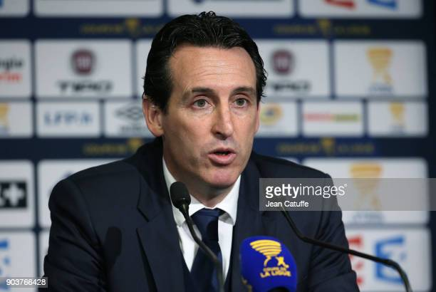 Coach of PSG Unai Emery answers to the media following the French League Cup match between Amiens SC and Paris Saint Germain at Stade de la Licorne...