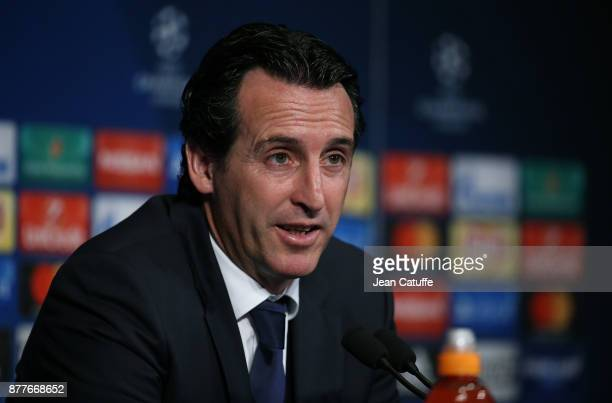 Coach of PSG Unai Emery answers to the media following the UEFA Champions League group B match between Paris SaintGermain and Celtic FC at Parc des...