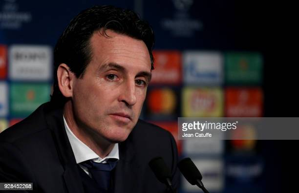 Coach of PSG Unai Emery answers to the media following the UEFA Champions League Round of 16 Second Leg match between Paris SaintGermain and Real...