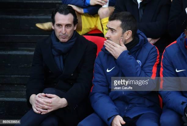 Coach of PSG Unai Emery assistant coach of PSG Juan Carlos Carcedo during the French Ligue 1 match between Stade Rennais and Paris Saint Germain at...