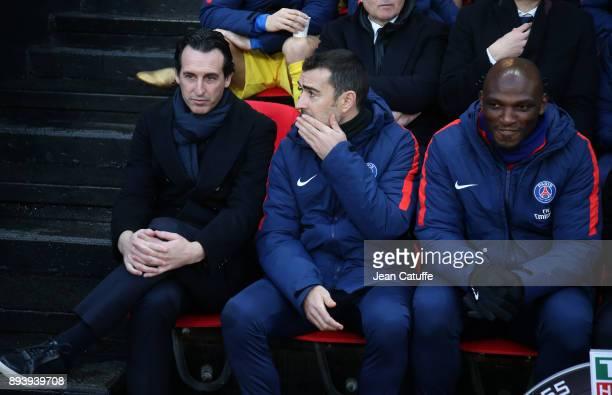 Coach of PSG Unai Emery assistant coaches of PSG Juan Carlos Carcedo and Zoumana Camara during the French Ligue 1 match between Stade Rennais and...