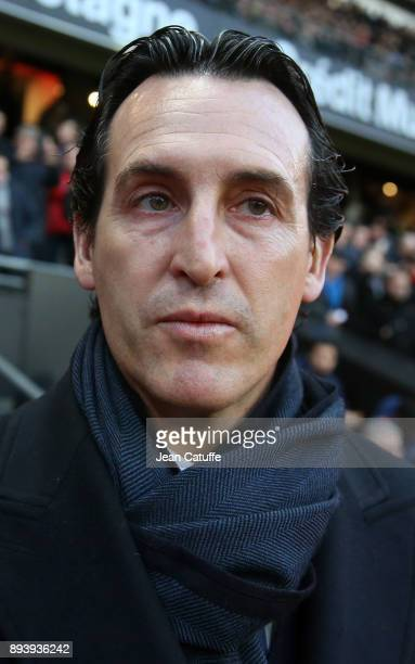 Coach of PSG Unai Emery during the French Ligue 1 match between Stade Rennais and Paris Saint Germain at Roazhon Park on December 16 2017 in Rennes...