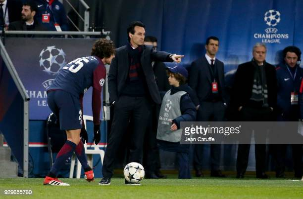 Coach of PSG Unai Emery during the UEFA Champions League Round of 16 Second Leg match between Paris SaintGermain and Real Madrid at Parc des Princes...
