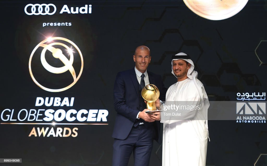 Coach of Real Madrid, Zinedine Zidane collects Best Club of the Year Award on behalf of Real Madrid during the Globe Soccer Awards 2017 on December 28, 2017 in Dubai, United Arab Emirates.
