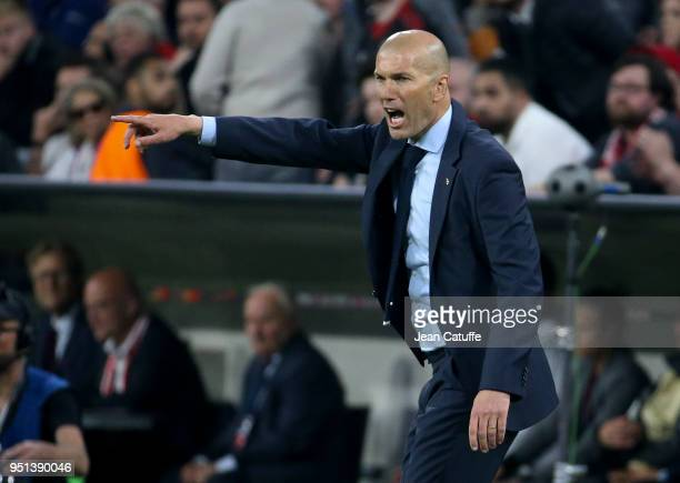 Coach of Real Madrid Zinedine Zidane during the UEFA Champions League Semi Final first leg match between Bayern Muenchen and Real Madrid at the...