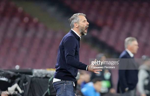 Coach of Red Bull Salzburg Marco Rose gestures during the UEFA Europa League Round of 16 First Leg match between SSC Napoli and Red Bull Salzburg at...