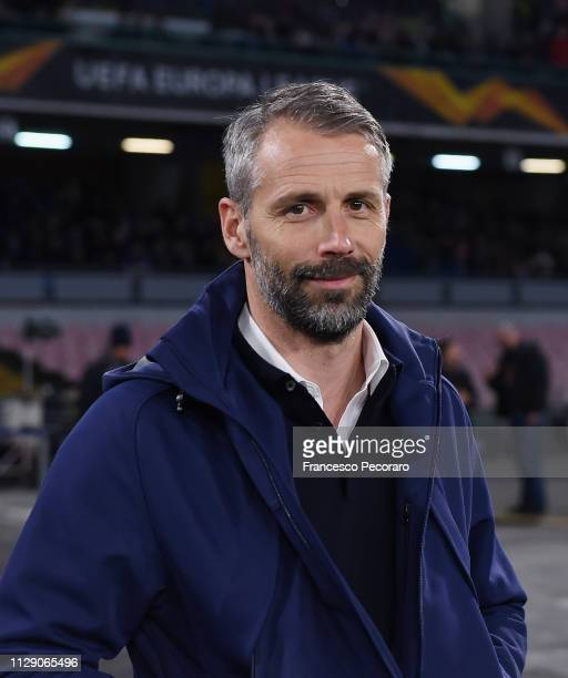 Coach of Red Bull Salzburg Marco Rose looks on during the UEFA Europa League Round of 16 First Leg match between SSC Napoli and Red Bull Salzburg at...