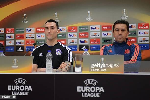 STADIUM ATHENS ATTIKI GREECE Coach of RSC Anderlecht Besnik Hasi and goalkeeper Silvio Proto during the press conference of Olympiacos FC vs RSC...