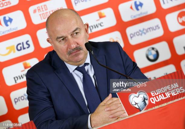Coach of Russia Stanislav Cherchesov answers to the media following the 2020 UEFA European Championships group I qualifying match between Belgium and...