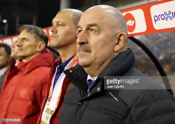 Coach of Russia Stanislav Cherchesov during the 2020 UEFA European Championships group I qualifying match between Belgium and Russia at King Baudouin...
