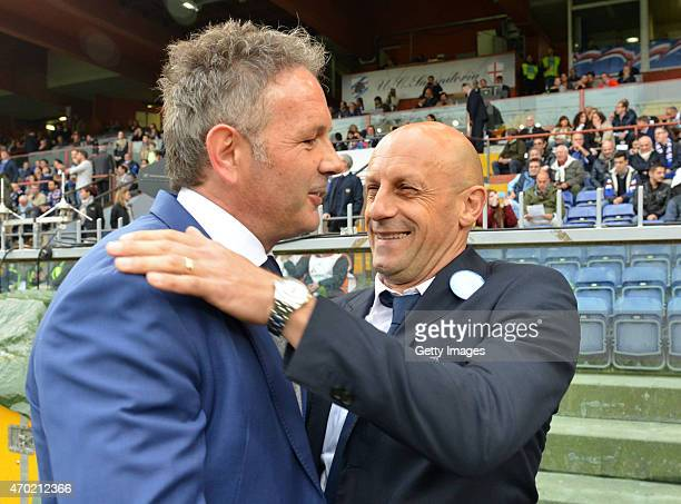 Coach of Sampdoria Sinisa Mihajlovic and Coach of Cesena Domenico Di Carlo are seen ahead of the Serie A match between UC Sampdoria and AC Cesena at...