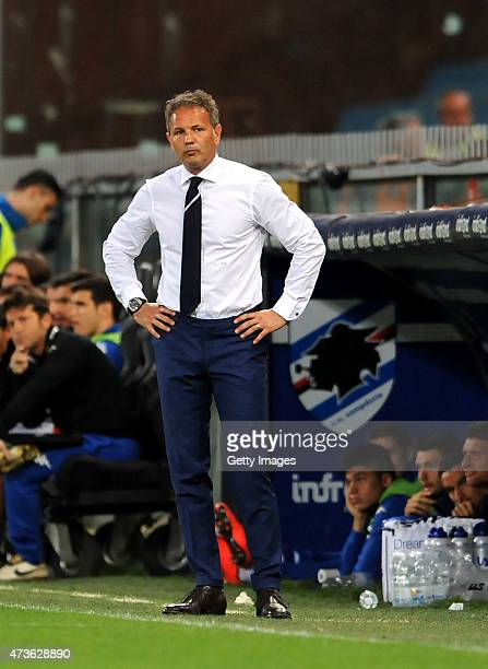 Coach of Sampdoria Sinisa Mihajlovic looks on during the Serie A match between UC Sampdoria and SS Lazio at Stadio Luigi Ferraris on May 16 2015 in...