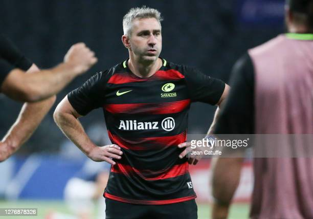 Coach of Saracens Kevin Sorrell during the Heineken Champions Cup Semi Final match between Racing 92 and Saracens at Paris La Defense Arena on...