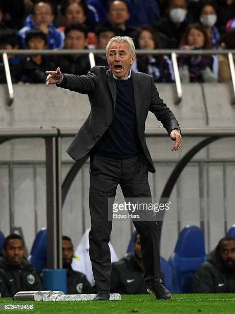 Coach of Saudi Arabia Bert Van Marwijk gestures during the 2018 FIFA World Cup Qualifier match between Japan and Saudi Arabia at Saitama Stadium on...