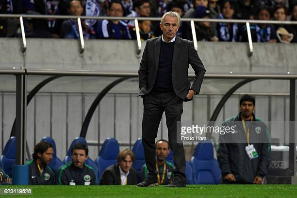 Coach of Saudi Arabia Bert Van Marwijk looks on during the 2018 FIFA World Cup Qualifier match between Japan and Saudi Arabia at Saitama Stadium on...