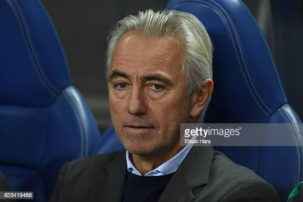 Coach of Saudi Arabia Bert Van Marwijk looks on prior to the 2018 FIFA World Cup Qualifier match between Japan and Saudi Arabia at Saitama Stadium on...