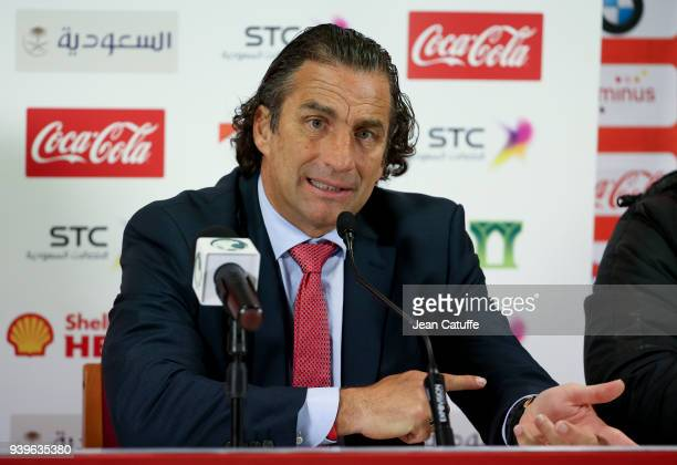Coach of Saudi Arabia Juan Antonio Pizzi answers to the media following the international friendly match between Belgium and Saudi Arabia on March 27...