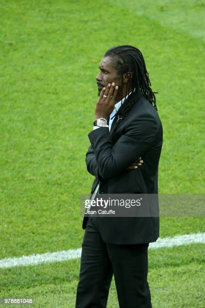Coach of Senegal Aliou Cisse during 2018 FIFA World Cup Russia group H match between Poland and Senegal at Spartak Stadium on June 19 2018 in Moscow...
