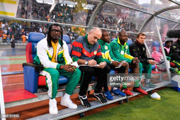 Coach of Senegal Aliou Cisse during the friendly match between Senegal and Ivory Coast at Stade Charlety on March 27 2017 in Paris France
