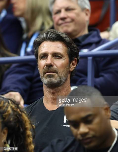 Coach of Serena Patrick Mouratoglou looks on during the Women's Singles finals match between Serena Williams of the United States and Naomi Osaka of...
