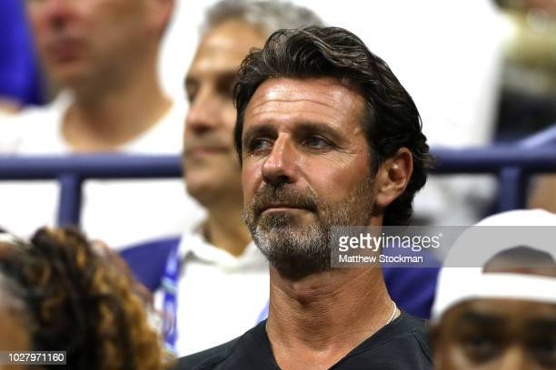 Coach of Serena Williams of the United States Patrick Mouratoglou watches her women's singles semifinal match against Anastasija Sevastova of Latvia...