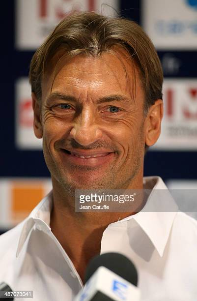 Coach of Sochaux Herve Renard speaks to the media during a press conference after the French Ligue 1 match between FC Sochaux Montbeliard and Paris...