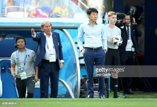 Coach of South Korea Shin Taeyong and his assistant Toni Grande during the 2018 FIFA World Cup Russia group F match between Sweden and Korea Republic...