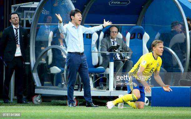 Coach of South Korea Shin Taeyong during the 2018 FIFA World Cup Russia group F match between Sweden and Korea Republic at Nizhniy Novgorod Stadium...