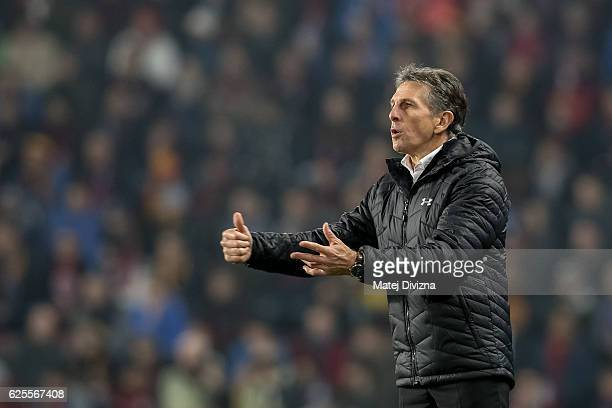 Coach of Southampton Claude Puel gestures during the UEFA Europa League match between AC Sparta Praha and Southampton FC at Generali Arena Stadium on...