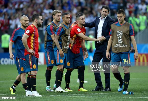 Coach of Spain Fernando Hierro and his players dejected following the 2018 FIFA World Cup Russia Round of 16 match between Spain and Russia at...