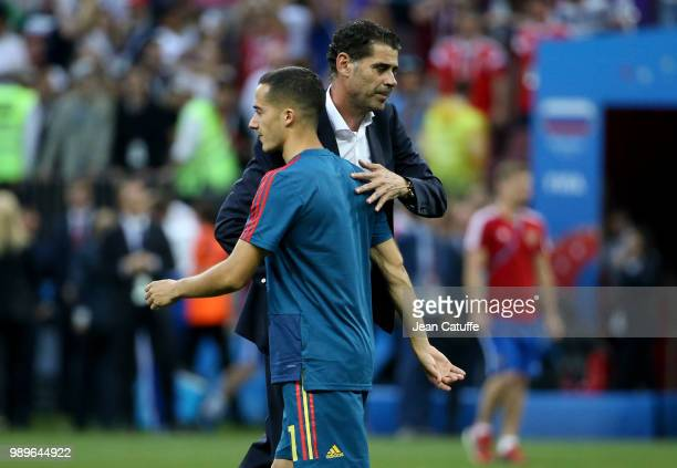 Coach of Spain Fernando Hierro Lucas Vazquez dejected following the 2018 FIFA World Cup Russia Round of 16 match between Spain and Russia at Luzhniki...
