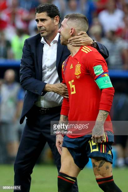 Coach of Spain Fernando Hierro Sergio Ramos dejected following the 2018 FIFA World Cup Russia Round of 16 match between Spain and Russia at Luzhniki...